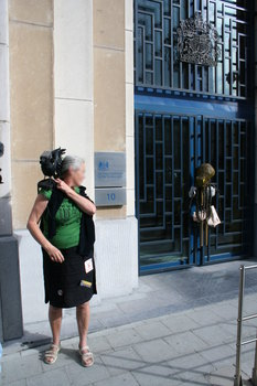 [Picture: Panopticon camera raven and data octopus at UK Repressentation to the EU, Brussels]