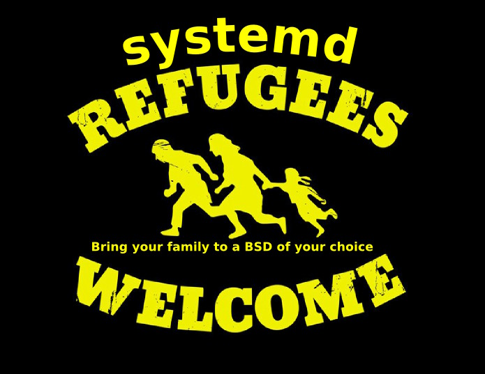 [Montage: systemd text on top of 'Refugees welcome' logo]